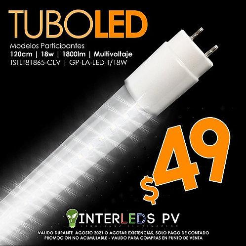 Tubo LED T8 18w 6500k Claro Vidrio TSTLT81865-CLV