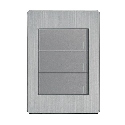 Placa Apagador 3 Interruptores 3 vías gris APL-103