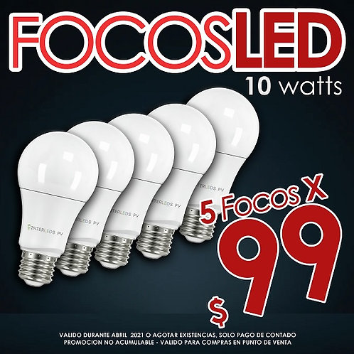 5 Focos LED 10w 127v 810LM 6500K ILV-001-5PK