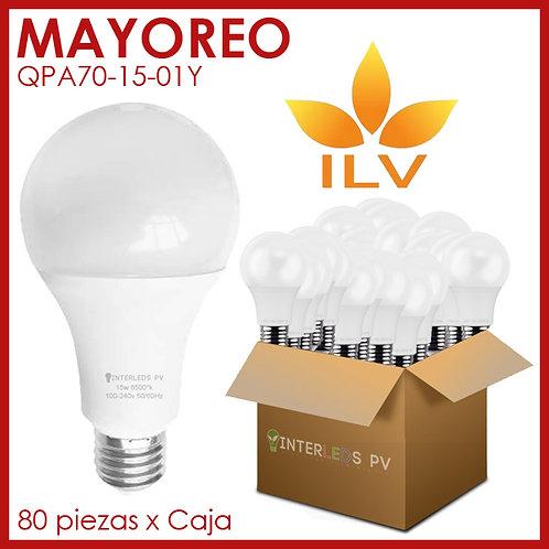 MAYOREO 80pz Foco 15w LED 6500K 100-240v ILV-QPA70-15-01Y - ILV
