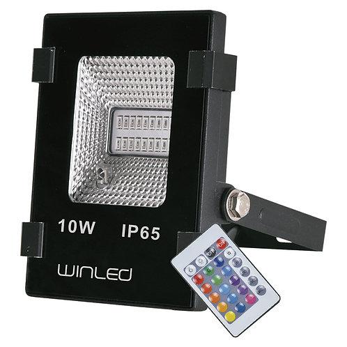 WRE-004 REFLECTOR LED 10W SMD RGB CON CONTROL REMOTO EXTERIOR