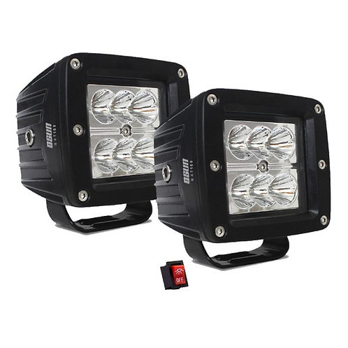 Par de Faros LED Cuadrado 18w 6 LED OSN0131