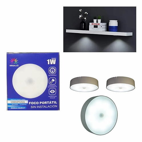 Lampara LED Recargable USB + Sensor Movimiento EM14W1B