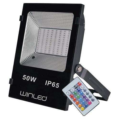 WRE-006 REFLECTOR LED 50W SMD RGB CON CONTROL REMOTO EXTERIOR