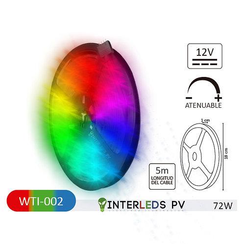 Tira LED RGB 300-LED Chip 5050 5metros 12v 72W IP65 WTI-002