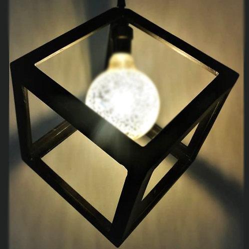 Colgante Madera 3D Cubo Grande Negro A06