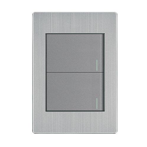 Placa Apagador 2 Interruptor 3 Vías Gris APL-102