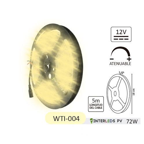 Tira LED Blanco Cálido 300-LED Chip 5050 5Metros 12v 72w IP65 WTI-004