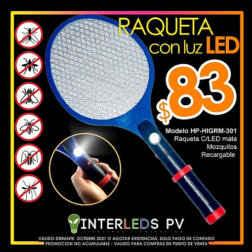 Raqueta C/LED Para Mosquito HP-HIGRM-301