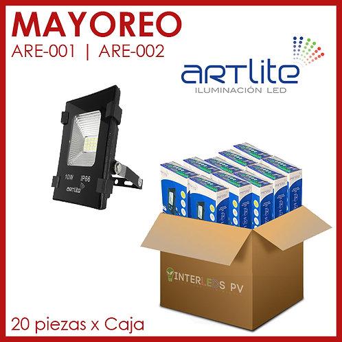 MAYOREO 20pz Reflector LED Cuadrado SMD Slim 10W - Artlite