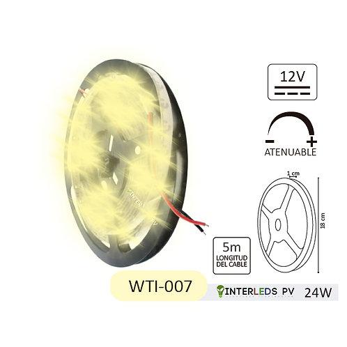 Tira LED Blanco Cálido 300-LED Chip 2835 5metros 12v 24w IP65 WTI-007