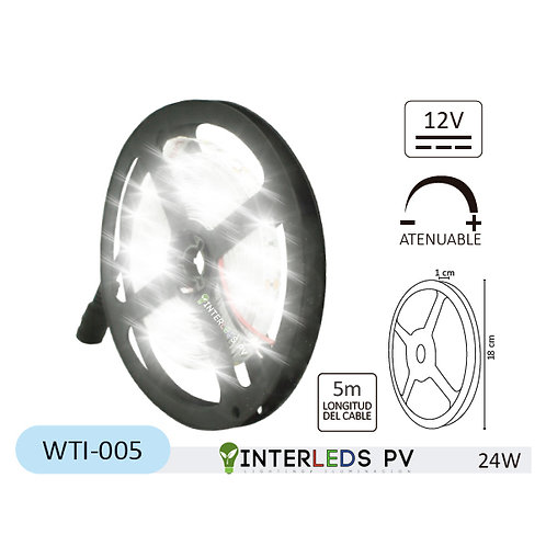 Tira LED Blanco Frío 300-LED Chip 2835 5Metros 12v 24W IP20 WTI-005