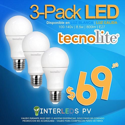 3Pack A19 LED 8.5w 6500K A19-LED/010/65-3