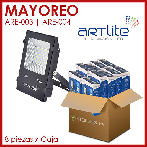 MAYOREO 8pz Reflector LED SMD Cuadrado Slim 30W - Artlite