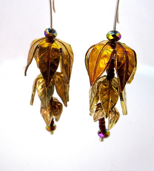 Cascading Petal Kinetic Earrings With Golden Patina