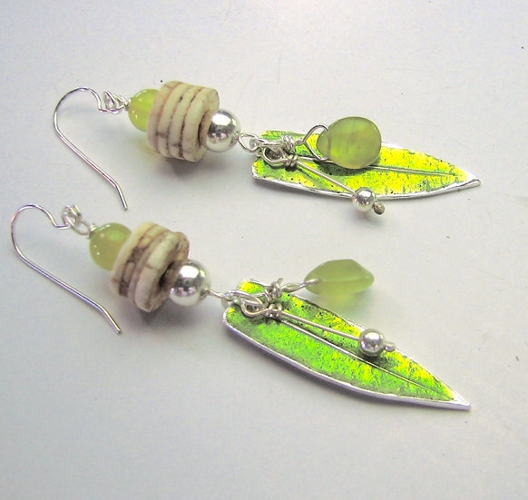 Leaf Earrings With African Beads