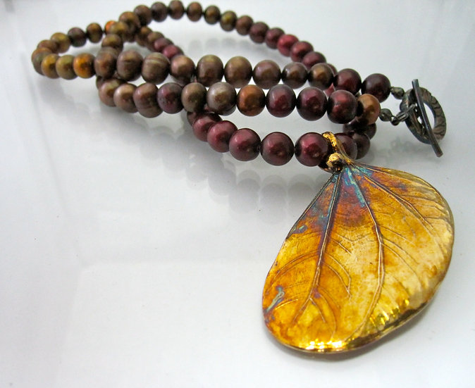 Folded Leaf Necklace and Brown Salt Water Pearls