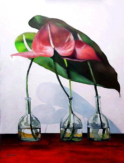 Three Anthuriums in Bottles
