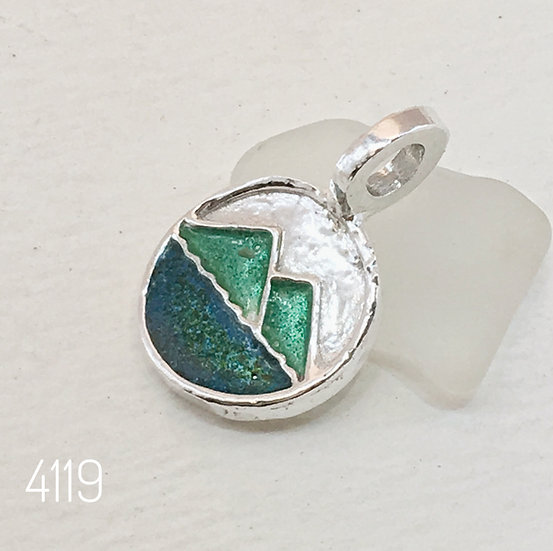 Pitons Charm In Green Enameled Fine Silver