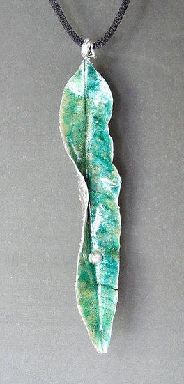 Mango Leaf Enameled Pendant