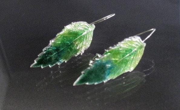 Hibiscus Leaf Earrings of Enameled Fine Silver