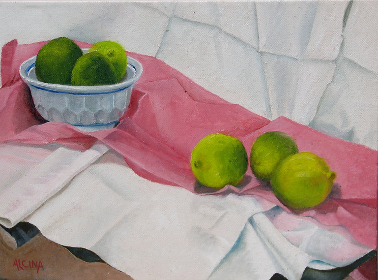 Limes On Pink Tissue Paper