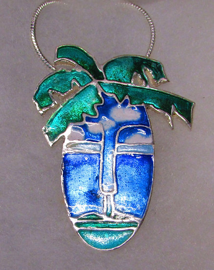 St. Lucia In A Mask. Enameled Pendant.