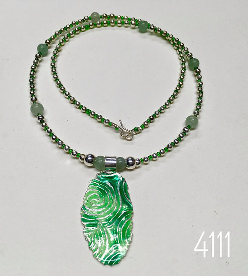 Green Rippled Sea Enamel Pendant With Adventurine Bead Strand.