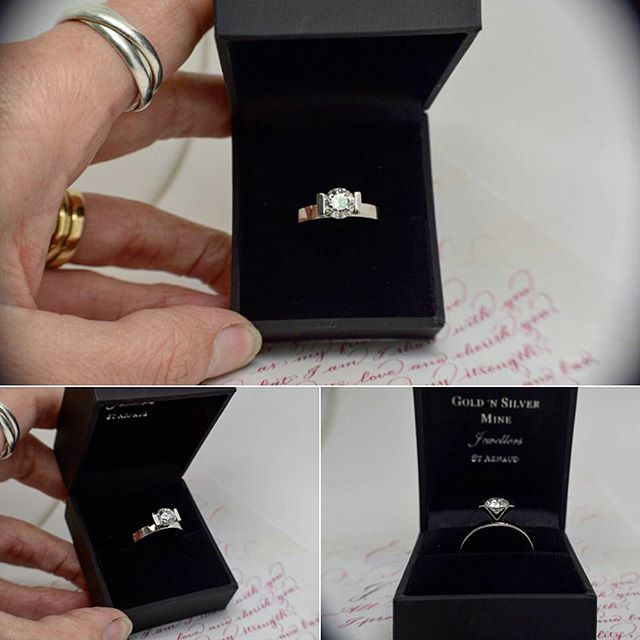 Made in store...Stunning contemporary solitaire setting in platinum for this Brilliant Cut Diamond
