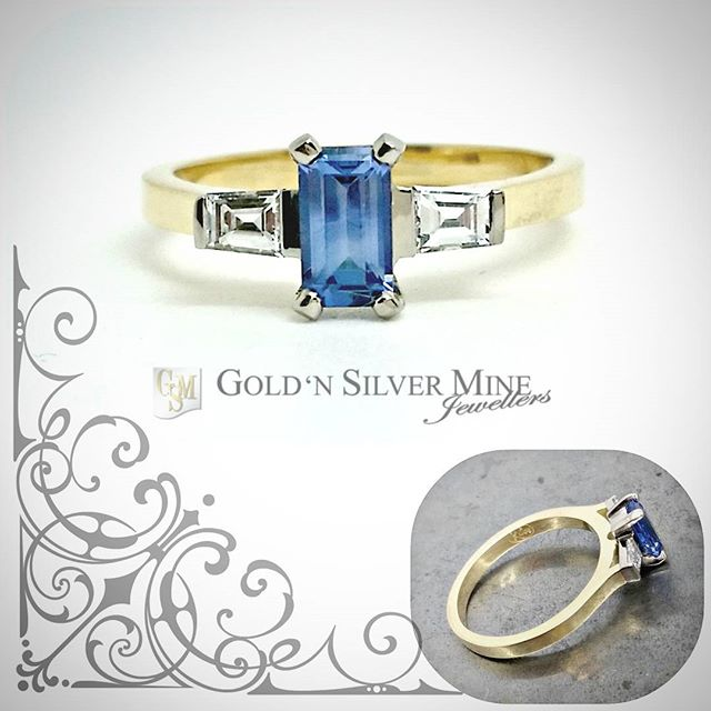 A recent custom make...Emerald cut Ceylon Sapphire with tapered baguette diamonds, set in 18ct white