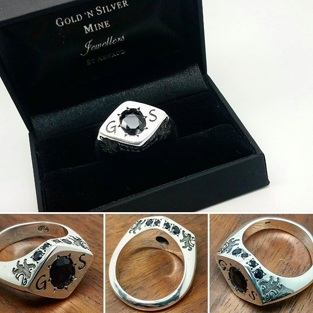 Custom design & manufacture, Sterling Silver & Sapphire Gents Signet ring