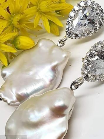 Sterling Silver Biwa Pearl Earrings