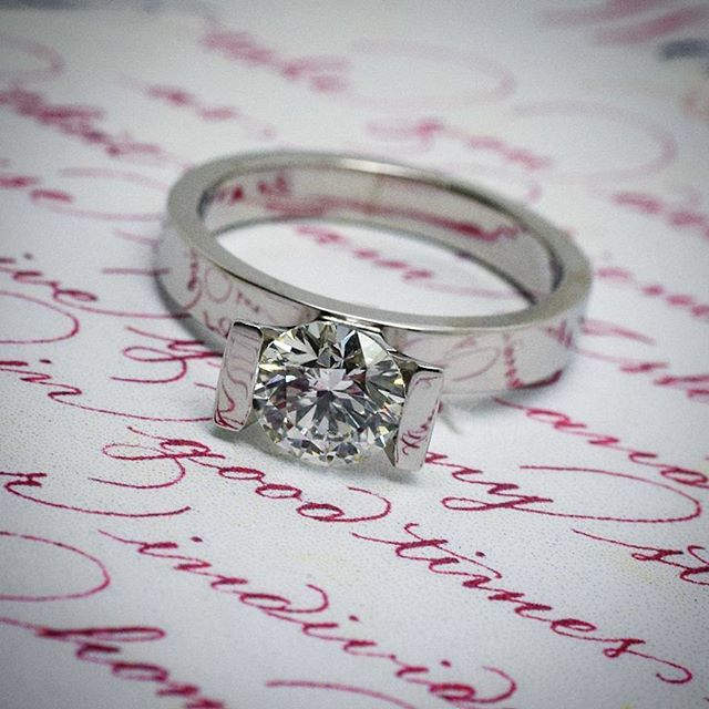 Another view of the custom made, Platinum Solitaire Diamond ring just  finished..