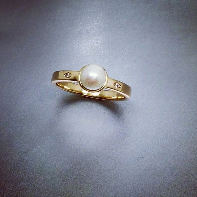 A recent custom made ring for customers' own Pearl..