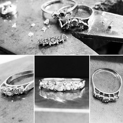 Alterations...making a straight setting from a fitted band...two rings missing stones, now combined