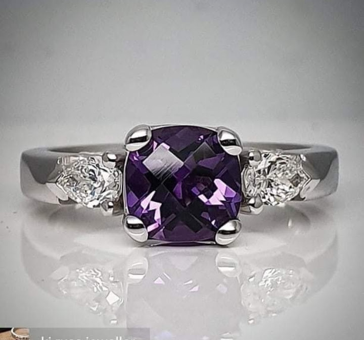 Amethyst and Diamond Trilogy Ring