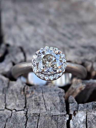18ct WG 1.03ct Salt&Pepper Diamond Halo Ring