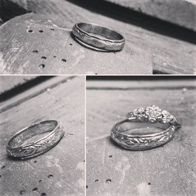 A wedding band worn over many years had lost its pattern..