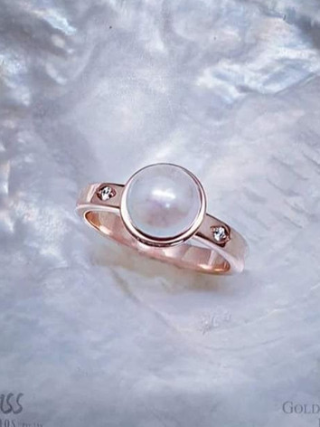 9ct Rose Gold Broken Bay Akoya Pearl & Diamond Ring