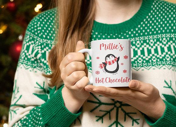 Penguin Personalised Hot Chocolate Mug