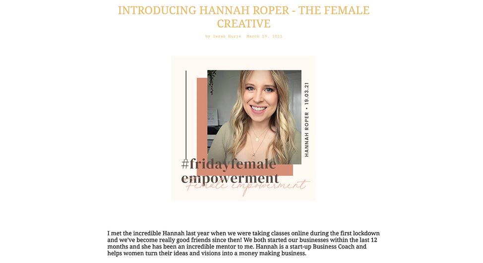 Hannah Roper The Female Creative Gem&I J