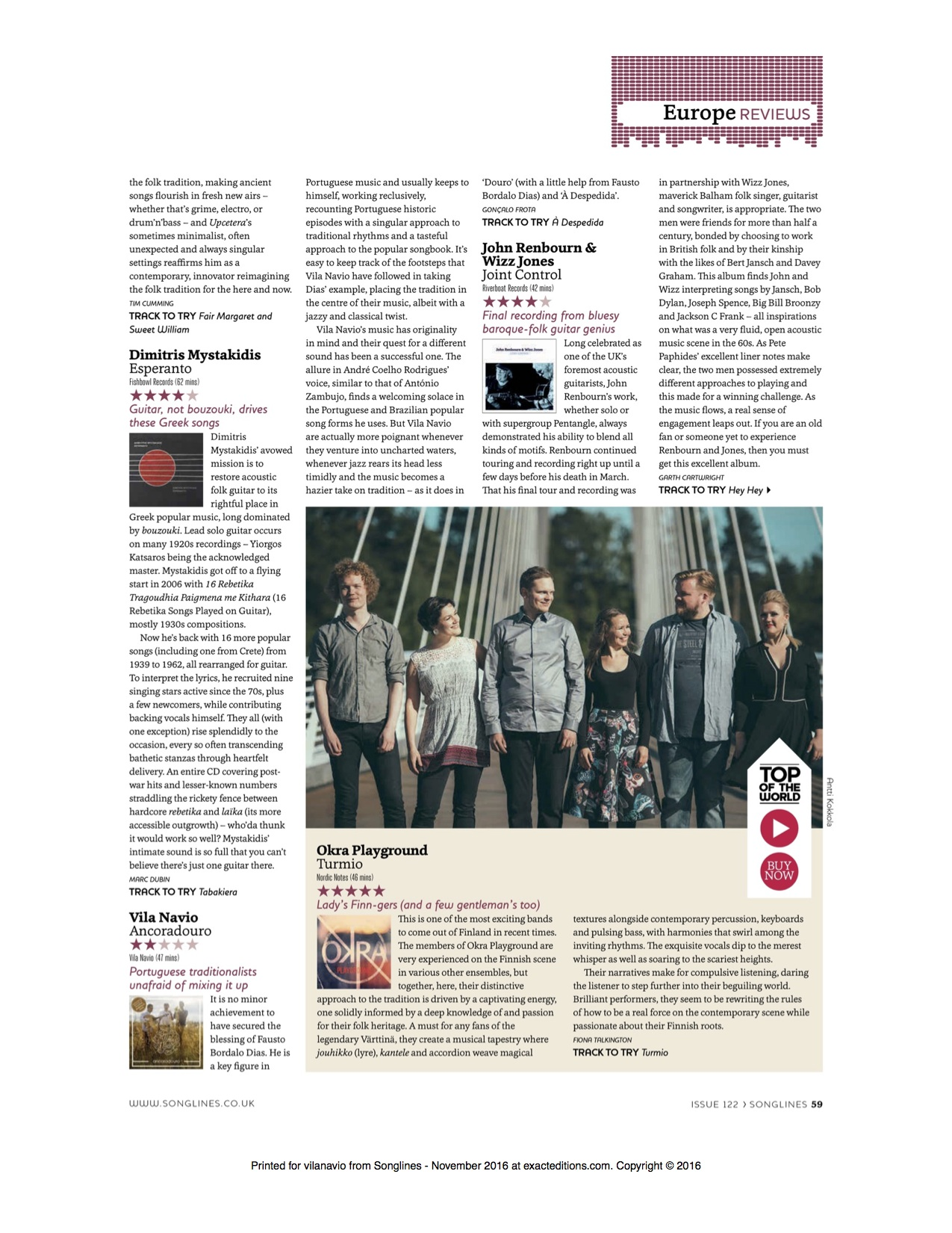 Songlines Magazine, 2016