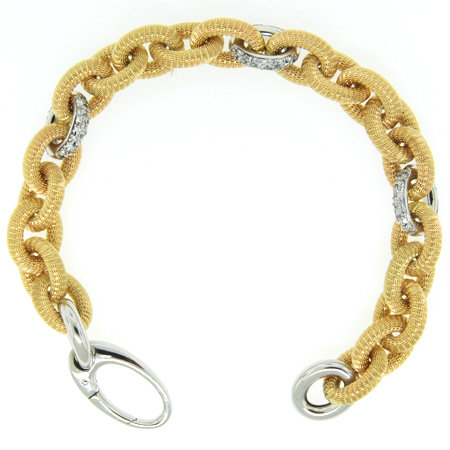 14K Yellow Gold Oval Link Mesh Diamond Bracelet