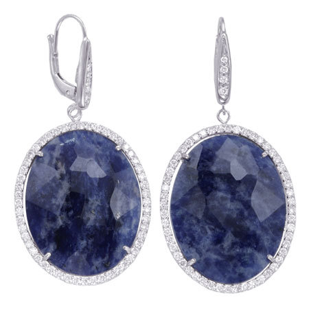 Diamond & Color Stone Oval Drop Earrings