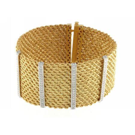 18K Diamond Multi Stran Rope Mesh Bracelet