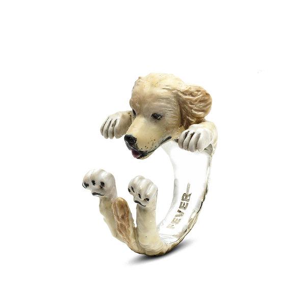 Hug Ring, Golden Retriever-Enamel/Sterling Silver