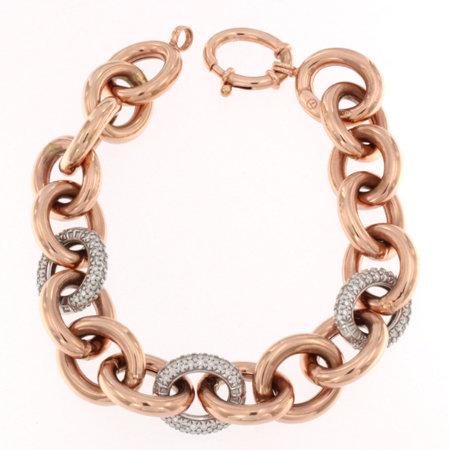 14K Diamond 3 Link Oval Shiny Bracelet