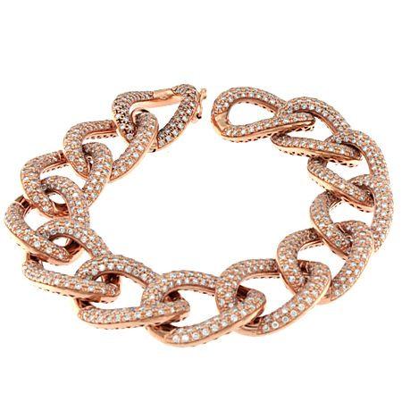 18K All Diamond Link Bracelet