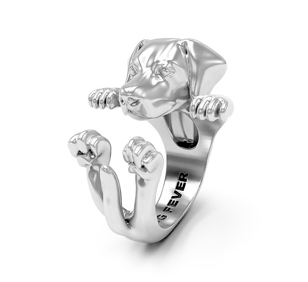 Hug Ring, Labrador-Enamel/Sterling Silver