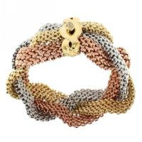 14K Gold Mesh Three Tone Corssover Bracelet